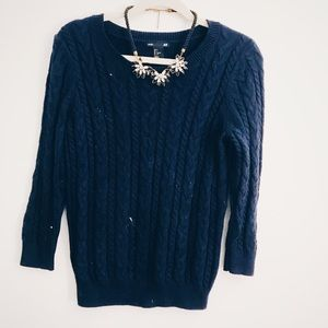 Elbow length knit sweater